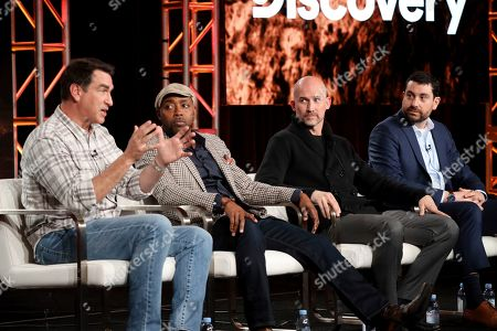 "Rob Riggle, Will Packer, Kelly Smith, Matthew Kelly. Rob Riggle, from left, Will Packer, Kelly Smith and Matthew Kelly speak at the Discovery Channel's ""Rob Riggle: Global Investigator"" during the Discovery Network TCA 2020 Winter Press Tour at the Langham Huntington, in Pasadena, Calif"