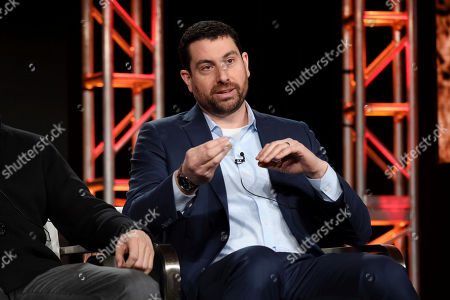 "Matthew Kelly speaks at the Discovery Channel's ""Rob Riggle: Global Investigator"" during the Discovery Network TCA 2020 Winter Press Tour at the Langham Huntington, in Pasadena, Calif"