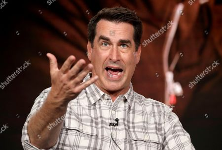 "Rob Riggle speaks at the Discovery Channel's ""Rob Riggle: Global Investigator"" during the Discovery Network TCA 2020 Winter Press Tour at the Langham Huntington, in Pasadena, Calif"