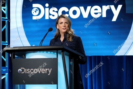 "Chief Brand Officer, Discovery & Factual Nancy Daniels speaks at the Discovery Channel's ""Rob Riggle: Global Investigator"" during the Discovery Network TCA 2020 Winter Press Tour at the Langham Huntington, in Pasadena, Calif"