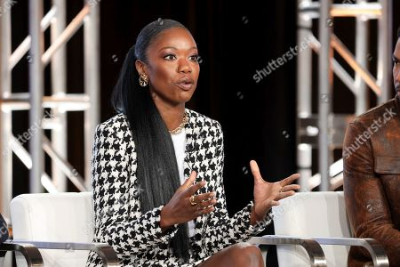"""Xosha Roquemore speaks at the OWN: Oprah Winfrey Network's """"Cherish the Day"""" during the Discovery Network TCA 2020 Winter Press Tour at the Langham Huntington, in Pasadena, Calif"""