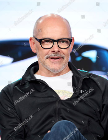 "Rob Corddry speaks at the Motortrend's ""Top Gear America"" during the Discovery Network TCA 2020 Winter Press Tour at the Langham Huntington, in Pasadena, Calif"
