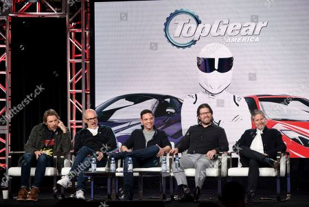 "Stock Picture of Dax Shepard, Rob Corddry, Jethro Bovingdon, Mike Suggett, Travis Shakespeare. Dax Shepard, from left, Rob Corddry, Jethro Bovingdon, Mike Suggett and Travis Shakespeare speak at the Motortrend's ""Top Gear America"" during the Discovery Network TCA 2020 Winter Press Tour at the Langham Huntington, in Pasadena, Calif"