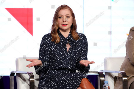 "Alyson Hannigan speaks at the Food Network's ""Girl Scout Cookie Championship"" during the Discovery Network TCA 2020 Winter Press Tour at the Langham Huntington, in Pasadena, Calif"