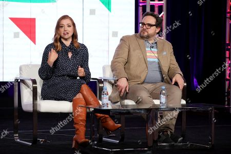 "Alyson Hannigan, Nacho Aguirre. Alyson Hannigan, left, and Nacho Aguirre speak at the Food Network's ""Girl Scout Cookie Championship"" during the Discovery Network TCA 2020 Winter Press Tour at the Langham Huntington, in Pasadena, Calif"