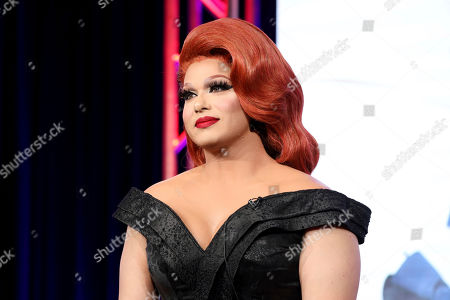 """Alexis Michelle speaks at the TLC's """"Dragnificent!"""" during the Discovery Network TCA 2020 Winter Press Tour at the Langham Huntington, in Pasadena, Calif"""