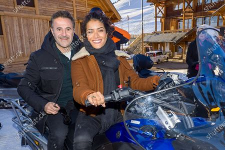 Jose Garcia and Sabrina Ouazani on a skidoo