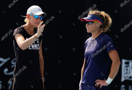 Samantha Stosur of Australia (R) talks with her coach Rennae Stubbs during an Australian Open practice session at Melbourne Park in Melbourne, Victoria, Australia, 17 January 2020.