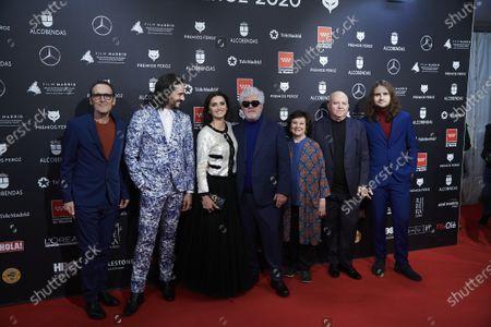 Penelope Cruz, Pedro Almodovar, Agustin Almodovar, Julietta Serrano, Asier Etxeandia and Alberto Iglesias