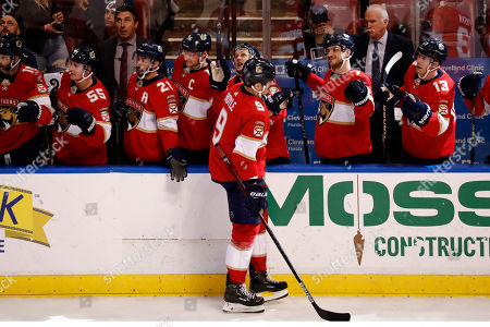 Stock Image of Florida Panthers center Brian Boyle (9) celebrates with after he scores during the third period of an NHL hockey game against the Los Angeles Kings, in Sunrise, Fla. Florida Panthers win 4-3