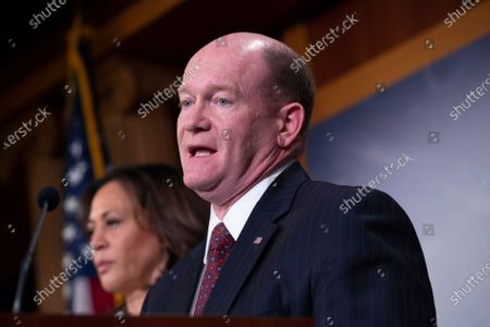 United States Senator Christopher A. Coons (Democrat of Delaware), delivers remarks on the impeachment trial after United States Supreme Court Chief Justice swore in Senators as impeachment jurors.
