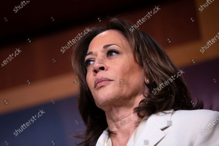 United States Senator Kamala Harris (Democrat of California), delivers remarks on the impeachment trial after United States Supreme Court Chief Justice swore in Senators as impeachment jurors.