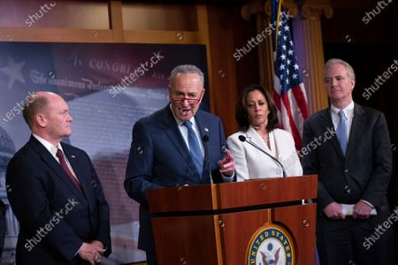 United States Senate Minority Leader Chuck Schumer (Democrat of New York), joined by United States Senator Richard Blumenthal (Democrat of Connecticut), United States Senator Chris Van Hollen (Democrat of Maryland), United States Senator Kamala Harris (Democrat of California), and United States Senator Christopher A. Coons (Democrat of Delaware), delivers remarks on the impeachment trial.