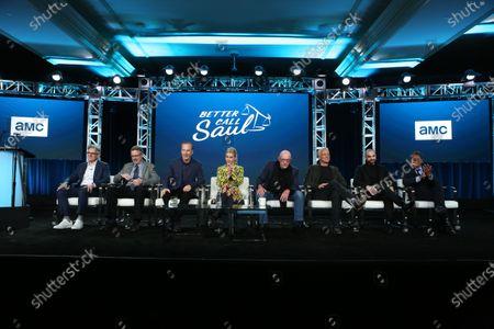 Peter Gould, Vince Gilligan, Bod Odenkirk, Rhea Seehorn, Jonathan Banks, Patrick Fabian, Michael Mando and Giancarlo Esposito