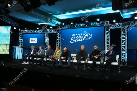 Peter Gould, Vince Gilligan, Bod Odenkirk, Rhea Seehorn, Jonathan Banks, Patrick Fabian, Michael Mando and Giancarlo Esposito