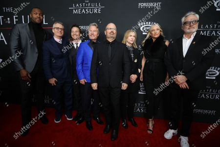 Ser'Darius Blain, Linus Roache, Travis Aaron Wade, John Savage, Todd Robinson, Amy Madigan, Margaret DeVogelaere and Bradley Whitford pose on the red carpet prior to the premiere of the film 'The Last Full Measure', at Arclight Hollywood in Hollywood, California, USA, 16 January 2020.