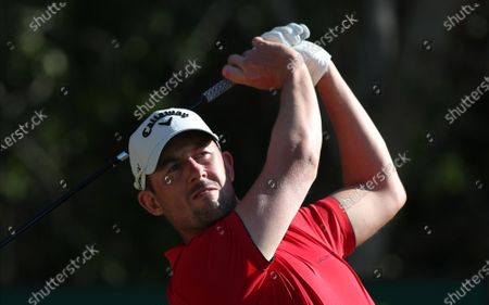 Stock Picture of Alexander Bjork of Sweden tees off during the second round of the Abu Dhabi HSBC Golf Championship 2020 at Abu Dhabi Golf Club in Abu Dhabi, United Arab Emirates, 17 January 2020.
