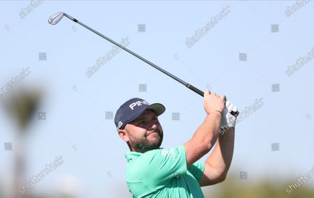 Stock Picture of Andy Sullivan of England tees off during the second round of the Abu Dhabi HSBC Golf Championship 2020 at Abu Dhabi Golf Club in Abu Dhabi, United Arab Emirates, 17 January 2020.
