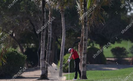Alexander Bjork of Sweden in action during the second round of the Abu Dhabi HSBC Golf Championship 2020 at Abu Dhabi Golf Club in Abu Dhabi, United Arab Emirates, 17 January 2020.