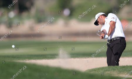 Stock Photo of Pablo Larrazabal of Spain hits a shot from bunker during the second round of the Abu Dhabi HSBC Golf Championship 2020 at Abu Dhabi Golf Club in Abu Dhabi, United Arab Emirates, 17 January 2020.