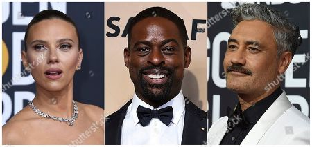 This combination of photos shows, from left, Scarlett Johansson, Sterling K. Brown and Taika Waititi, who will join Roman Griffin Davis, Jason Bateman, Lili Reinhart and Kaitlyn Dever as presenters at the 26th annual Screen Actors Guild Awards on