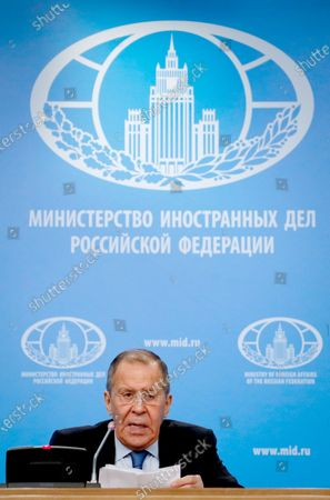 Russian acting Foreign Minister Sergei Lavrov holds his annual news conference in Moscow, Russia, 17 January 2020. Sergei Lavrov gave a press conference on the results of Russian diplomacy in 2019.