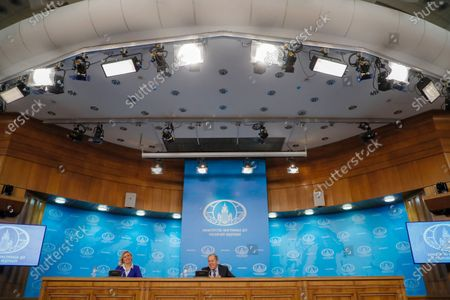 Russian acting Foreign Minister Sergei Lavrov (R) and Russian Foreign Ministry spokesperson Maria Zakharova (L) attend annual news conference in Moscow, Russia, 17 January 2020. Sergei Lavrov gave a press conference on the results of Russian diplomacy in 2019.