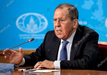 Russian acting Foreign Minister Sergei Lavrov attends his annual news conference in Moscow, Russia, 17 January 2020. Sergei Lavrov gave a press conference on the results of Russian diplomacy in 2019.