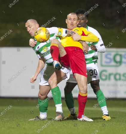 Partick Thistle v Celtic... 18th January 2020.Patick Thistle Kenny Miller and celtic's Scott Brown