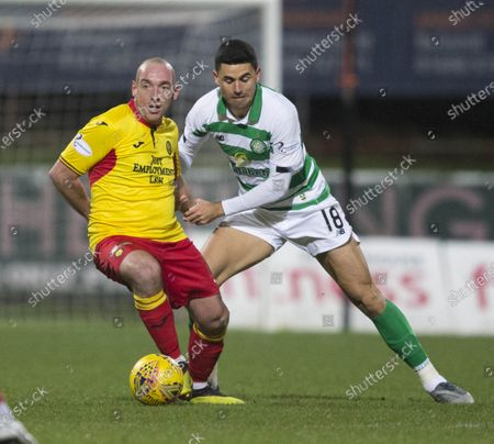 Partick Thistle v Celtic... 18th January 2020.Partick Thistle's new signing debut Darian Mackinnon and celtic tom rogic
