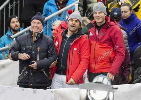 Stock Photo of (L-R) Former ski racer Karl Schranz, Kristian Ghedina and Michael Walchhofer watch the slalom run of the men's Alpine combined race at the Alpine Skiing FIS Ski World Cup in Wengen, Switzerland, 17 January 2020.