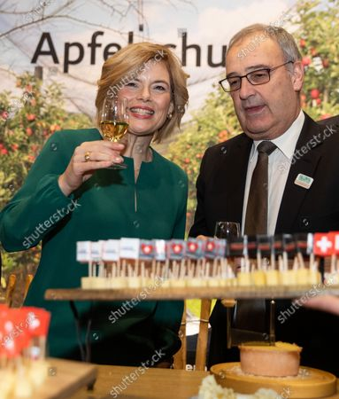 German Minister of Food and Agriculture Julia Kloeckner (L) and Swiss Head of the Federal Department of Economic Affairs, Education and Research Guy Parmelin (R) visit the Hall of Switzerland during opening tour of the International Green Week fair in Berlin, Germany, 17 January 2020. The International Green Week fair runs from 17 to 26 January.
