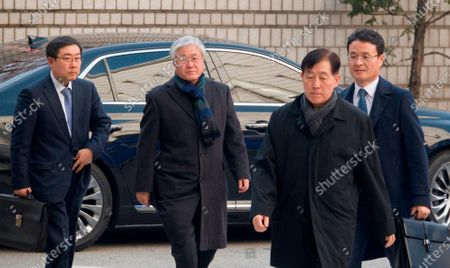 Stock Image of Choi Gee-Sung and Choi Gee-Sung (front R), former director of Samsung Group's Future Strategy Office and Park Sang-Jin (2nd L), former president of Samsung Electronics, arrive at the Seoul High Court