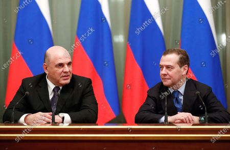 Russian Prime Minister Mikhail Mishustin (L) and Russian ex- Prime Minister and deputy head of the Russian Security Council Dmitry Medvedev (R) attend a meeting with members of Russian government at the Russia's Government headquarters  in Moscow, Russia, 17 January 2020.