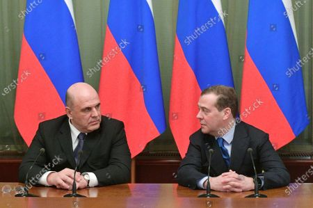 Editorial picture of Mikhail Mishustin meets Dmitry Medvedev, Moscow, Russian Federation - 17 Jan 2020