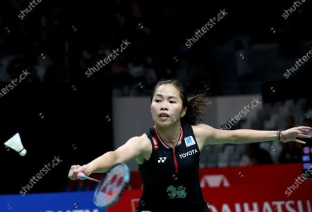 Ratchanok Intanon of Thailand in action during her women's single qualification macth against Michelle Li of Canada (unseen) at the Daihatsu Indonesian Masters 2020 in Jakarta, Indonesia 17 January 2020.