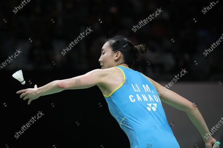 Michelle Li of Canada in action during her women's single qualification macth against Ratchanok Intanon of Thailand (unseen) at the Daihatsu Indonesian Masters 2020 in Jakarta, Indonesia 17 January 2020.
