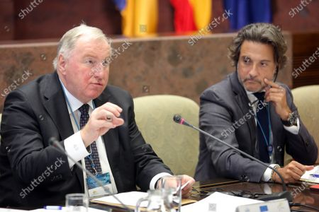 Stock Photo of Karl-Heinz Lambertz (L), President of the European Committee of the Regions (CoR), delivers a speech next to Canary Islands' Regional Parliament Speaker, Gustavo Matos, during a meeting of the permanent committee of the Conference of European Regional Legislative Assemblies in Santa Cruz de Tenerife, Canary Islands, Spain, 17 January 2020. The meeting was focused on energy transition and depopulation.