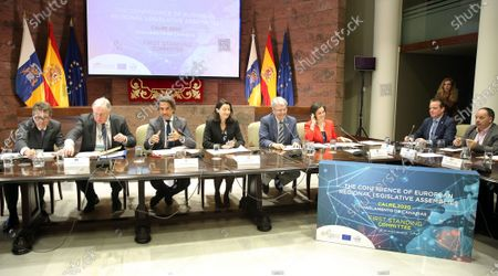 Karl-Heinz Lambertz (2-L), President of the European Committee of the Regions (CoR), and Canary Islands' Regional Parliament Speaker, Gustavo Matos (3-L), among others, attend a meeting of the permanent committee of the Conference of European Regional Legislative Assemblies in Santa Cruz de Tenerife, Canary Islands, Spain, 17 January 2020. The meeting was focused on energy transition and depopulation. Regional Speakers from Spain, Germany, Austria, Belgium, Italy and Portugal attended the event.