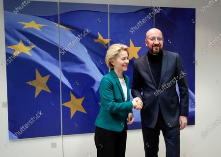 EU Commission President Ursula Von der Leyen (L)  welcomes President of the Council Charles Michel ahead to bilateral meeting in Brussels , Belgium, 17 January 2020.