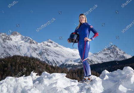 Monobob athlete Charlotte Longden GBR standing in the snow. St. Moritz Olympia Bob Run.