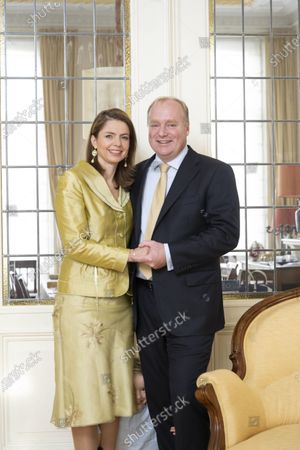 Stock Photo of Prince Carlos of Bourbon-Parma and Princess Annemarie during a family Christmas card photo session