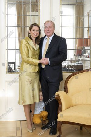 Stock Picture of Prince Carlos of Bourbon-Parma and Princess Annemarie during a family Christmas card photo session