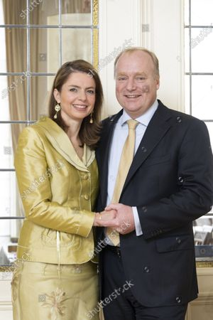 Stock Image of Prince Carlos of Bourbon-Parma and Princess Annemarie during a family Christmas card photo session
