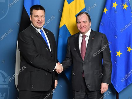 Swedish Prime Minister Stefan Lofven receives Estonian Prime Minister Juri Ratas (L) for in Stockholm, Sweden, 17 January 2020.