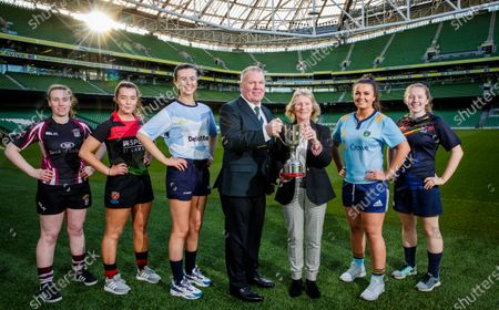 Stock Photo of Pictured today (L-R) NUI Galway's Ella Sinnott. IT Carlow's Katie Ann O'Neill, DCU's Emma Lacky, Chairperson IRFU Third Level Rugby Committee Kevin Dineen and Chairperson of SSI, Carmel Lynch, UCD's Alix Cuneen and UL's Meabh Lewis