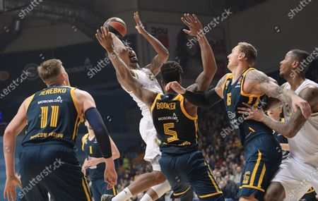 Stock Image of  Khimki's Andrew Harrison, Real Madrid's Jordan Grayson Mickey, Khimki's Devin Booker and Janis Timma during the match.