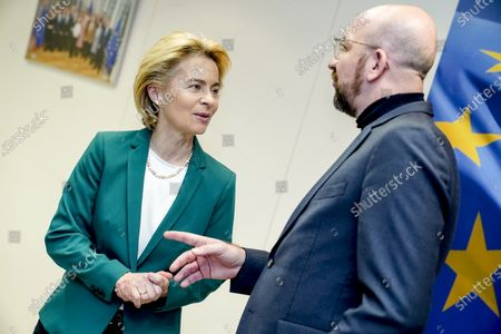 Ursula von der Leyen, President of the European Commission, receives Mr Charles Michel, President of the European Council.