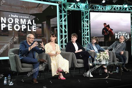 "Lenny Abrahamson, Daisy Edgar-Jones, Paul Mescal, Sally Rooney, Ed Guiney. Lenny Abrahamson, Daisy Edgar-Jones, Paul Mescal, Sally Rooney and Ed Guiney participates in the Hulu ""Normal People"" panel during the Winter 2020 Television Critics Association Press Tour,, in Pasadena, Calif"