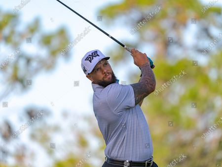 Stock Photo of Lake Buena Vista, FL, U.S: NBA player Deron Williams on the 4th tee during 2nd round of Diamond Resorts Tournament of Champions Presented by Insurance Office of America held at Tranquilo Golf Course at Four Seasons Golf and Sports Club Orlando in Lake Buena Vista, Fla